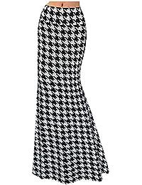 Womens Printed Maxi Skirt Elastic High Waist Skirt Casual Long Skirt Beach Dress