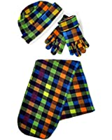 Women's Colorful Polyester Fleece Plaid Winter Set