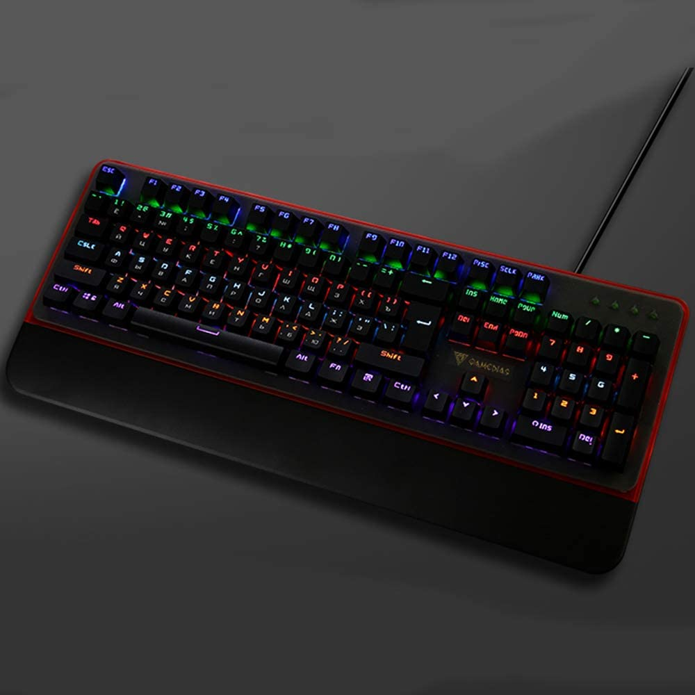 JSX RGB LED Backlit Mechanical Keyboard 104 Key Compact Mechanical Gaming Keyboard Dust and Spill Resistant-for Laptop PC Etc.