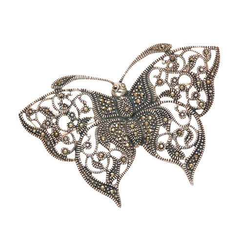 Wild Things Sterling Silver & Marcasite Filigree Butterfly Pin