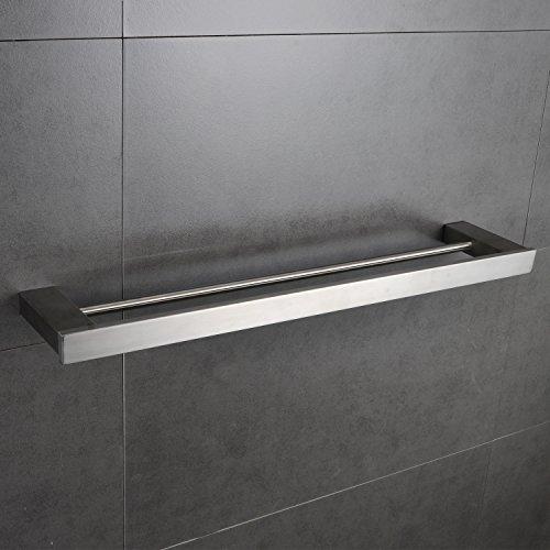 24 Inch Double Towel Bar Rack Shelf Rail Set Bathroom Towel Holder Kitchen Organizer Storage Wall Mount Stainless Steel Holtel Heavy Duty Modern Square Brushed Nickel MARMOLUX ACC (Set Towel Double Bar)