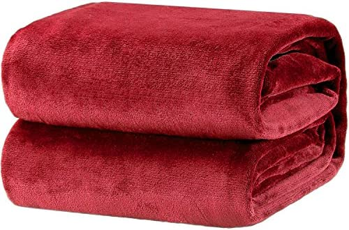"Flannel Fleece Luxury Blanket Red Queen(90""x90"") Size Lightweight Cozy Plush Microfiber Solid Blanket by way of Bedsure"