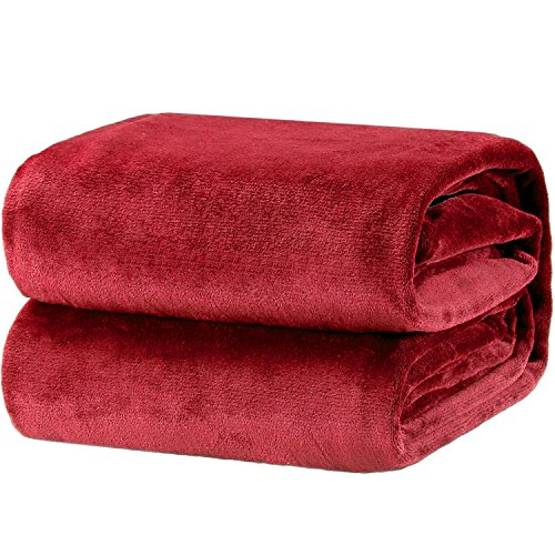 Bedsure Flannel Fleece Luxury Blanket Burgundy Twin Size Lightweight Cozy Plush Microfiber Solid (Afghan Blanket)
