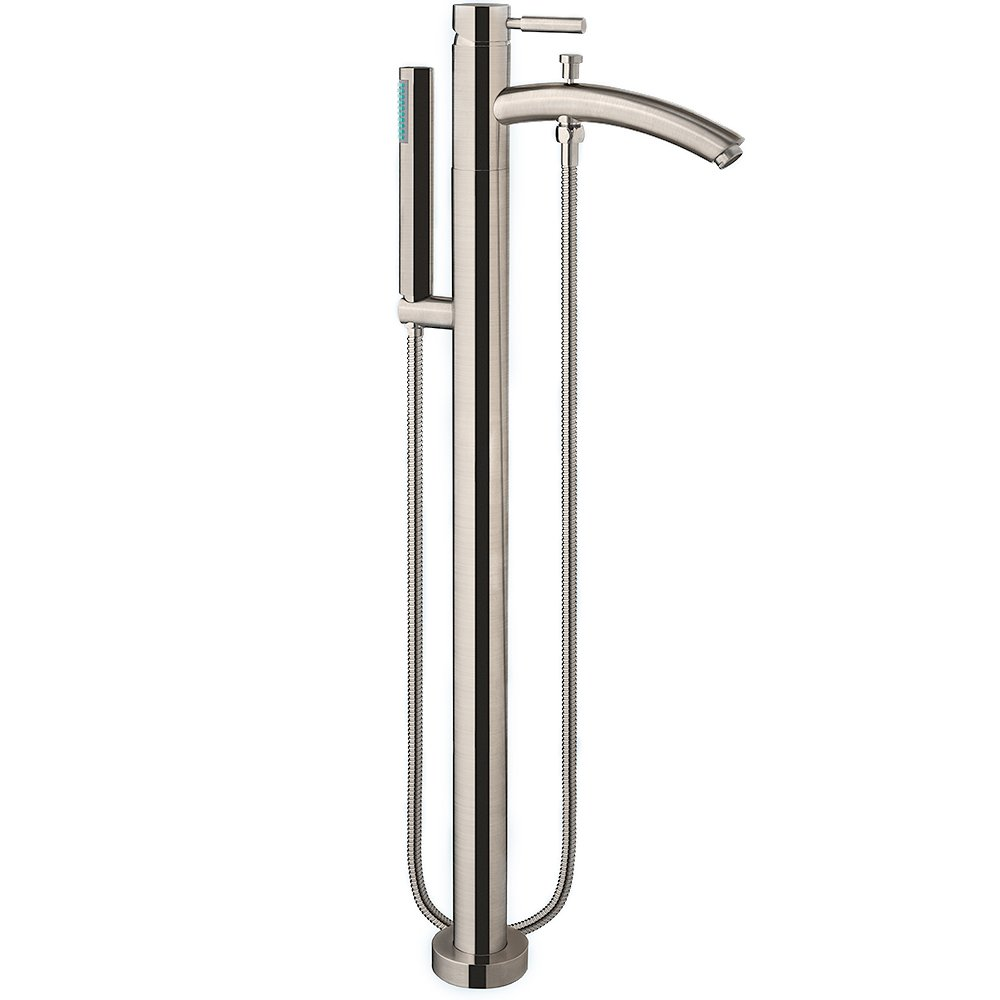 Wyndham Collection Taron Modern-Style Bathroom Tub Filler (Floor-mounted) in Brushed Nickel
