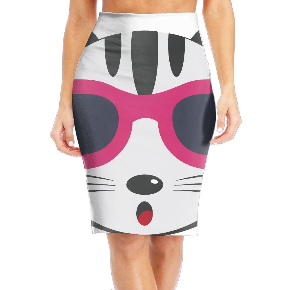 Cat Wearing Glasses Women's Fashion Printed Pencil Skirt