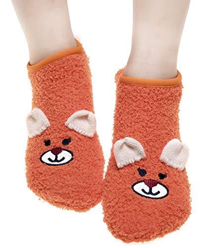 CEAJOO Women's Fuzzy Fluffy Socks with Grippers Non Skid Winter Warm Plush Bear Orange from CEAJOO