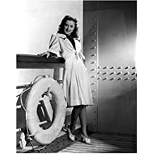 Barbara Stanwyck Posing on Ship Deck with a Smile 8 x 10 Inch Photo