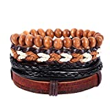 Aoruisier Vintage Bohemia Beaded Multilayer Handmade Woven Cuff Bracelet for Men Women Adjustable Jewelry Gift (brown)