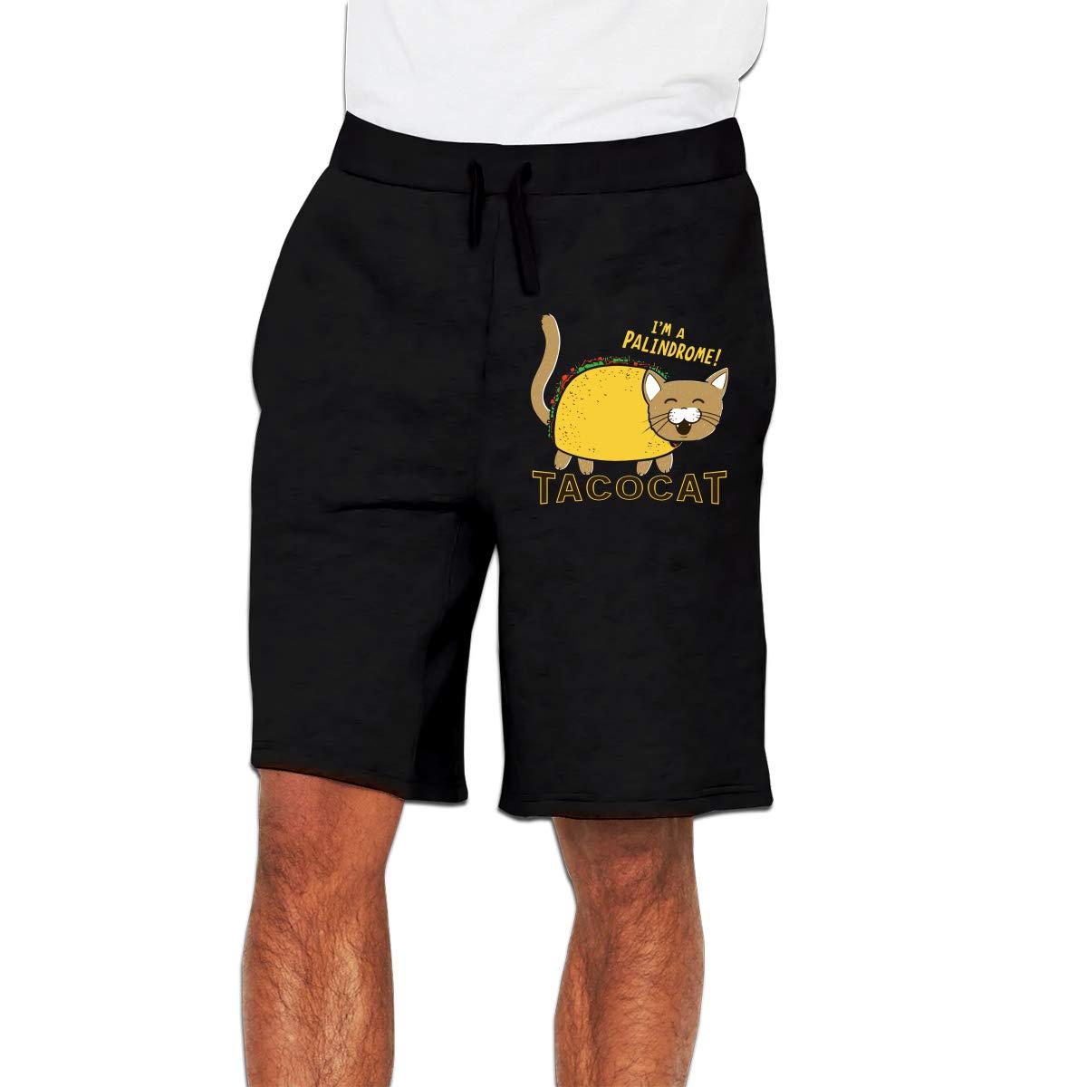 Mens Shorts with Elastic Waist Drawstring Casual Sports Shorts Taco Cat Patterned Gym Jogging Shorts