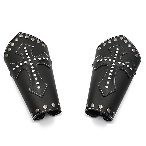 Holattio Mens Faux Leather Knight Arm Guards-Medieval Cross Bracers-Black/Brown-One Size - Black Faux Leather Cross