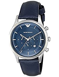 Emporio Armani Men's 'Lambda' Quartz Stainless Steel and Leather Casual Watch, Color:Blue (Model: AR11018)
