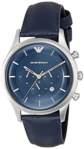 Emporio Armani Men's Lambda Stainless Steel Analog-Quartz Watch with Leather Calfskin Strap, Blue, 22 (Model: AR11018