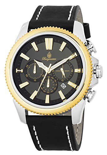 Burgmeister Men's Quartz Stainless Steel and Leather Casual Watch, Color:Black (Model: BMT03-922)