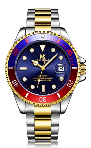 Mini Solid Gold Watch - Luxury Automatic Mechanical Men Fashion Stainless Steel Business Date Luminous Sports Waterproof Watches (Silver Gold Blue)