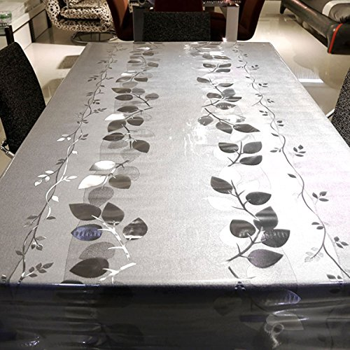 LEEVAN Heavy Weight Vinyl Rectangle Transparent Table Cover Wipe Clean PVC Tablecloth Oil-proof/Waterproof Stain-resistant/Mildew-proof - 54 x 78 Inch (Crystal Leaves)