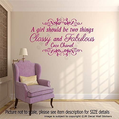 A girl should be two things, Classy and Fabulous - Coco Chanel quote for Girl's Removable vinyl Wall Art Stickers Motivational wall art Decal