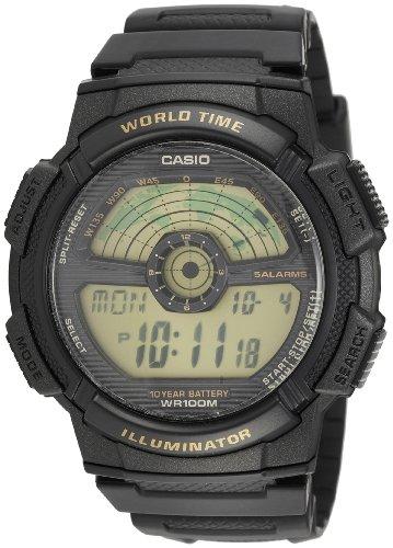 Casio Men's AE1100W-1BV Black Rubber Quartz Watch with Digital (Casio Ae1100w)
