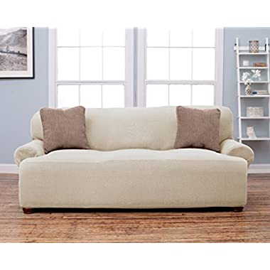 Savannah Collection Strapless Slipcover. Form Fit, Slip Resistant, Stylish Furniture Shield / Protector Featuring Soft, Lightweight Fabric. By Home Fashion Designs. (Sofa, Ivory)