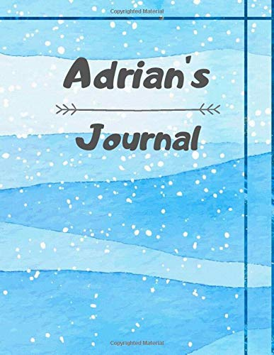 Adrian's Journal  Personalised Notebook  Notepad  Journal  Diary For Boys Girls Teens And Kids With 120 Black Lined Pages Sized 8.5 X 11 Inches   A4