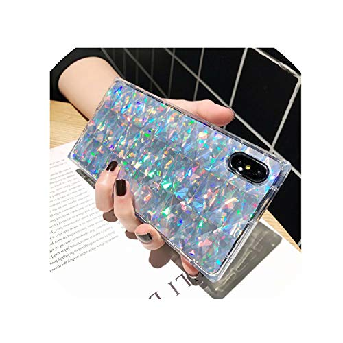 Fusion Square Floral (Fashion Luxury Diamond Laser Bling Square Cases for iPhone Xs Max Xr X 6 6S 7 8 Plus Transparent Soft Silicone Phone Back Cover,Silver,for iPhone 8 Plus)