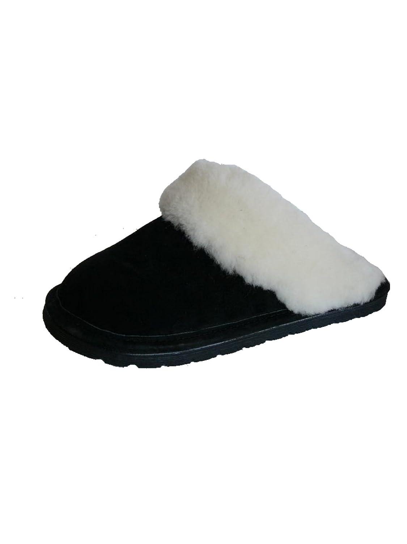 Woolworks Womens Australian Shearling Sheepskin Scuffs Slippers B00K04WDLA 6.5-7.5 (B)M US|Black