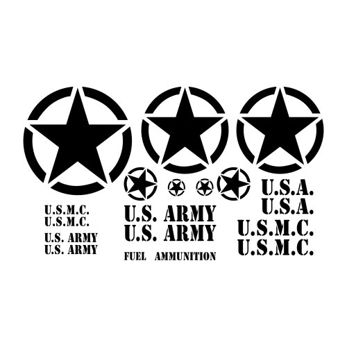 Military Jeep Restoration Decal Kit - For U.S. Army, Marine Or MP M37, M38, Jeep Or Truck - Invasion Star With Circle, Stencil Letter Style - In Black, Gloss (M38 Jeep)