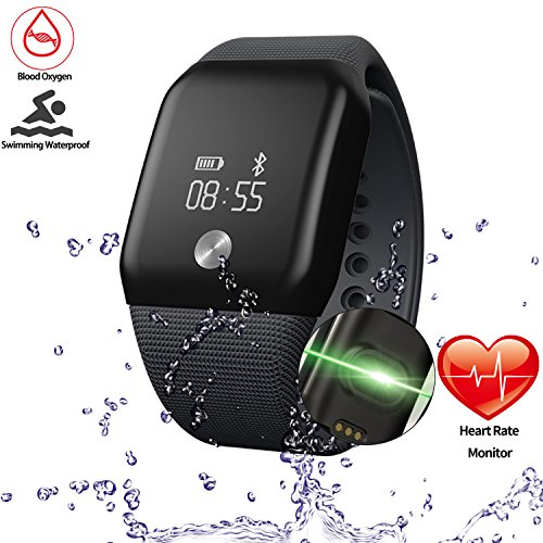Getfitsoo Smart Bracelet Watch, Swimming Waterproof Fitness Tracker with Heart Rate Blood Oxygen Mmonitor Wireless Bluetooth Sport Wristband Tracker Steps Calories Counter for Android & IOS(Black) (True Blood Computer)