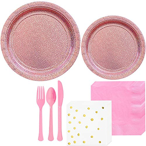 Party City Prismatic Pink Tableware Kit for 16 Guests, 146 Pieces, Includes Plates, Polka Dot Napkins, and Utensils]()