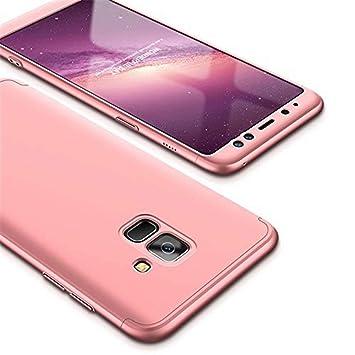 Funda Samsung Galaxy J6 (2018) y Protector de Pantalla de Vidrio Templado, MISSDU Carcasa 3 in 1 360 Grados Rígida PC Protective Anti-rasguños Case, ...