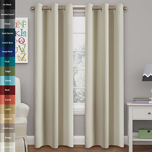 Turquoize Solid Blackout drapes, Room Darkening, Ivory/ Beige, Themal Insulated, Grommet/Eyelet Top, Nursery/Living Room Curtains Each Panel 42