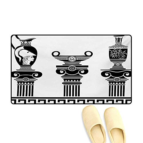 Door Mats,Hellenic Vases and Ionic Columns Artistic Design Amphora Antiquity Culture,Bath Mats for Bathroom,Black and White,20