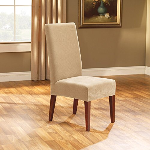 Sure Fit Stretch Pique - Shorty Dining Room Chair Slipcover  - Cream (Microsuede Dining Chair Cover)