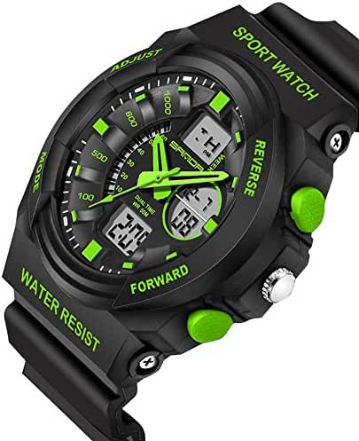 Kids Watch Waterproof Outdoor Sports Dual Dial LED Back Light Alarm Boys Watch 10 Years Black+Green
