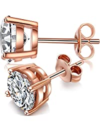 ZowBinBin 925 Sterling Silver Round Cut Cubic Zirconia CZ Stud Earrings,18k White Gold Plated Simulated Diamond Stud Earrings with 4-Prong Setting,Lovely Round Stud Earrings,Select From 4mm 5mm 6mm 7mm 8mm