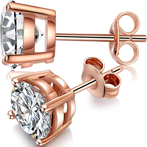 Rose Gold Studs Womens RoseGold Earrings Rose Gold Diamond Earrings 7mm Rose Gold CZ Earrings,Rose Gold Plated Earrings Classic Rose Gold Fake Diamond Cubic Zirconia Earrings,Rose Gold Post - Earring Diamond Post Classic