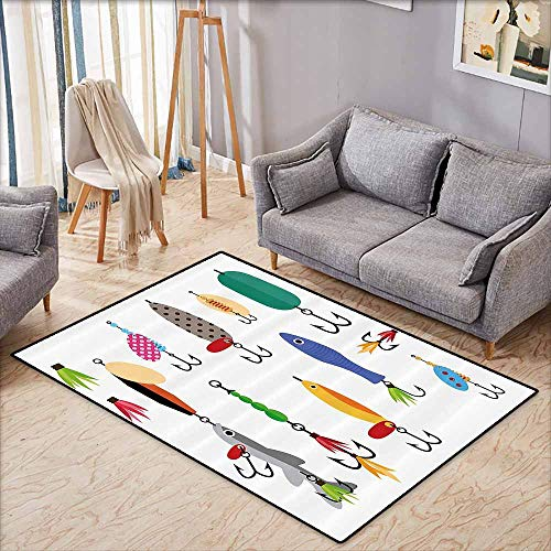 - Kids Rug,Fishing Decor,Elements of Fishing Line with Stringer Net Bite Indicators Worms Waders Image,Ideal Gift for Children,3'3