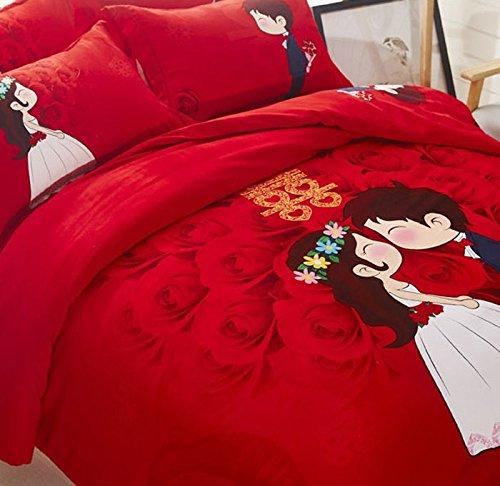 DHWM-Cotton 4 piece ,1.8m thick woolen mill wedding red bed, pure cotton bedding ,2.0m marriage Wedding