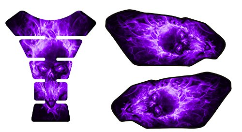 Explode Purple Motorcycle Tank Pad Side Protectors and Center Tank Pad Kit Universal Protection