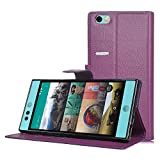 Nextbit Robin Case - IVSO® Nextbit Robin Case - High Quality Leather +TPU with Pockets for ID, Credit Cards-Will Only Fit Nextbit Robin Smartphone (Purple)