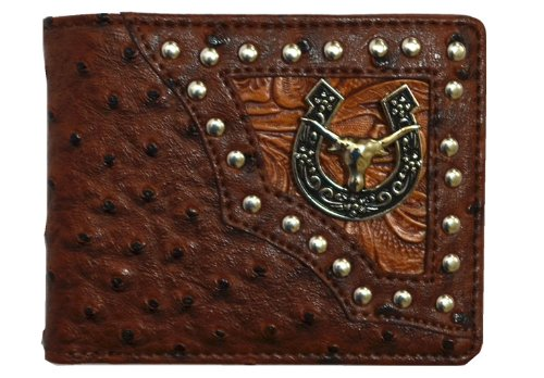 Texas Longhorn Emblem Ostrich Black Leather Bifold Wallet in Long and Short. New with Fast Shipping. (Longhorn short ostrich Brown)
