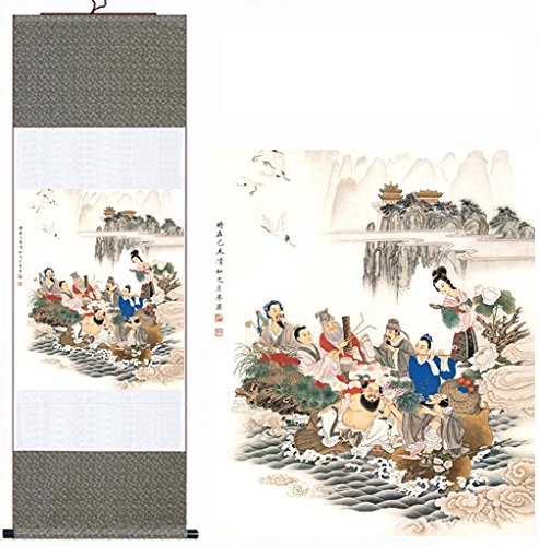 MODEBESO Silk Chinese Painting The Eight Immortals Crossing