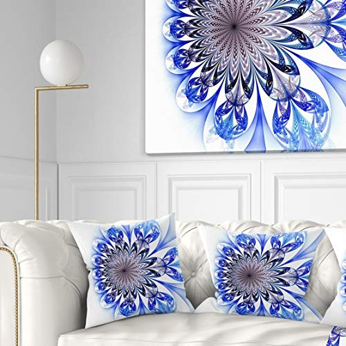 Designart CU11880-26-26 Light Blue Fractal Flower Digital Art' Floral Throw Cushion Pillow Cover for Living Room, Sofa, 26 in. x 26 in. ()