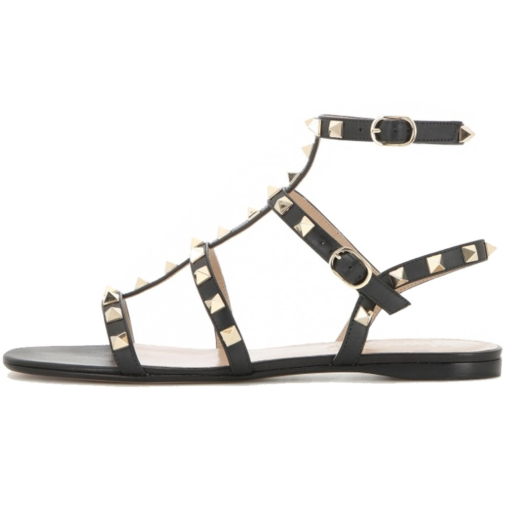 VOCOSI Women's Flats Sandals,Rivets Studs Ankle Strap Strappy Summer Sandals Shoes B072JWB9J1 11 B(M) US|Black