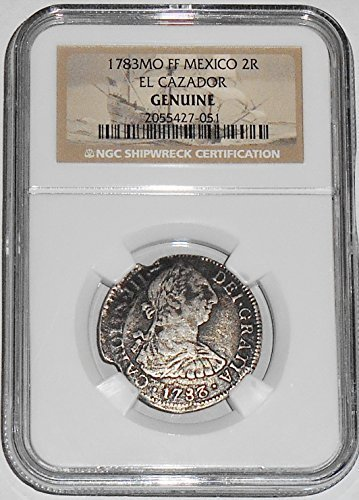 1783 MX 2 Reales MO FM El Cazador Shipwreck Coin,NGC Certified 2055427051 Real Fine NGC