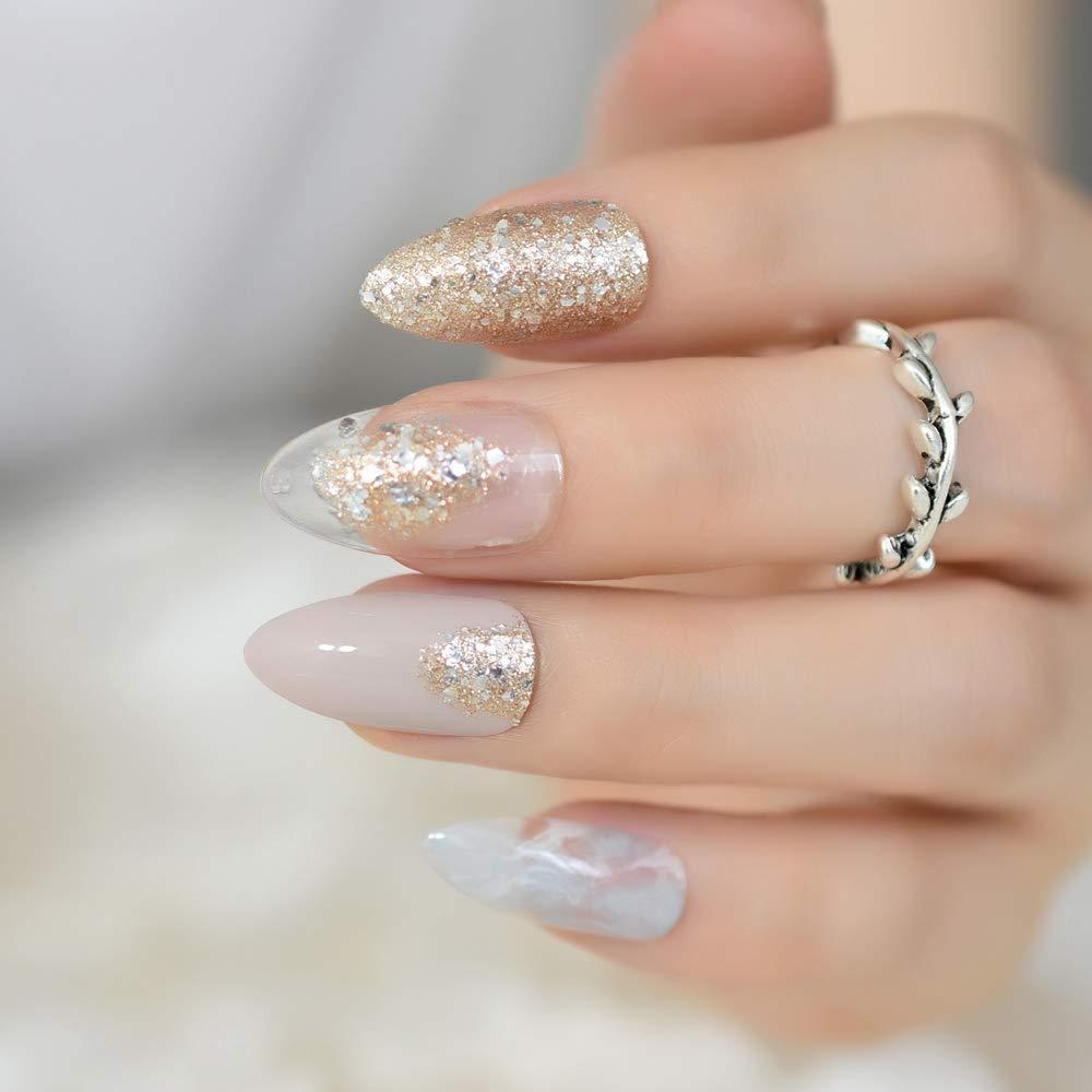 EchiQ - uñas postizas de mármol gris, color gris, con purpurina, para uso diario en verano: Amazon.es: Belleza