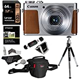 Canon PowerShot G9 X Digital Camera with 3x Optical Zoom Built-in Wi-Fi LCD touch panel (Silver), Lexar 64GB Memory Card, Ritz Gear Photo Pack, Polaroid Tripod, Cleaning Kit and Accessory Bundle