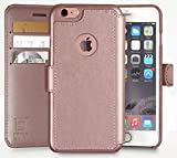 iPhone 6S Wallet Case, iPhone 6 Wallet Case, Durable and Slim , Lightweight with Classic Design & Ultra-Strong Magnetic Closure , Faux Leather, Rose Gold , Apple 6/6s (4.7 in)