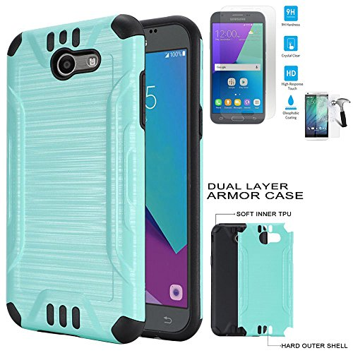Phone Case For Straight Talk Samsung Galaxy J7-Sky-Pro / Verizon Samsung Galaxy J7 V / J7-Perx Tempered Glass with Dual-Layered Cover (Combat Brush Teal-Black TPU/ Tempered Glass)