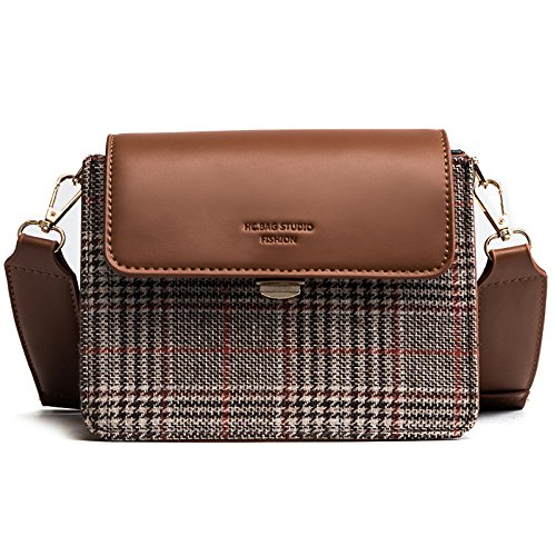 Incense Woman Shoulder Bag Plaid Wide Shoulder Straps Small Part Lock Bag, Brown Brown