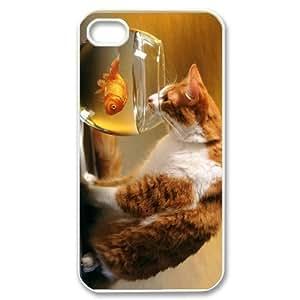 Diy Lovely Cute Cat Animal Phone Case for iphone 4 White Shell Phone JFLIFE(TM) [Pattern-1]